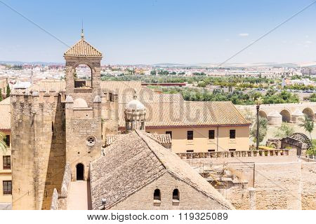 CORDOBA, SPAIN - JUN 3, 2014: View from Cordoba alcazar tower on June 3, 2014 at Cordoba Spin. It is a medieval Alcazar located in Cordoba historic centre.
