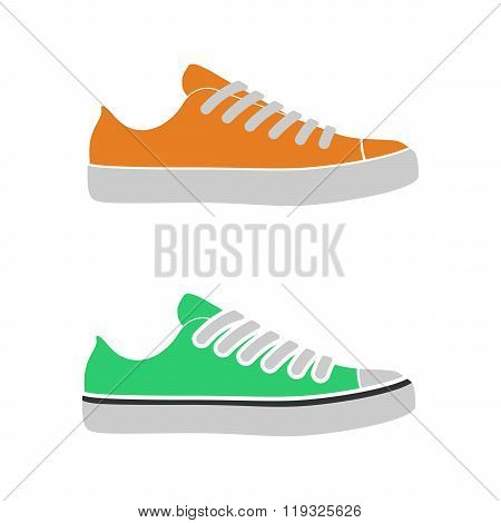 Flat design sneakers objects