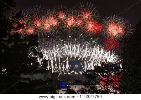 SYDNEY, AUSTRALIA - DECEMBER 31th 2013: New Years Eve, view on the Harbour Bridge and Opera House