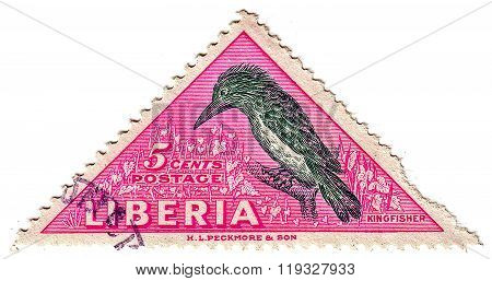 Liberia - Circa 1953: Stamp Printed By Liberia, Shows Kingfisher, Circa 1953