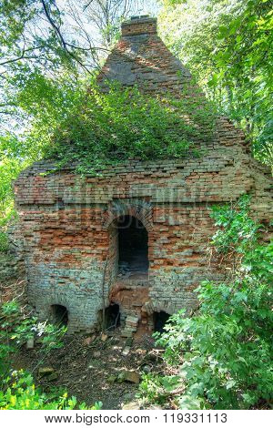 Very Old And Damaged Brick Furnace