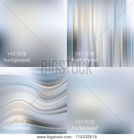 Abstract Beautiful Colorful Blurred Wavy Smooth Vector Backgrounds Set