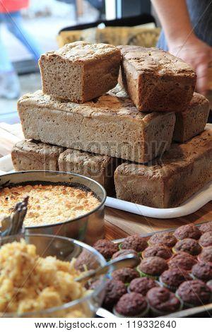 Homemade Food Bread, Apple Pie And Chocolate Dessert