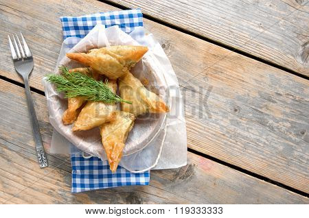 Greek Feta And Spinach Filo Pastry Triangles