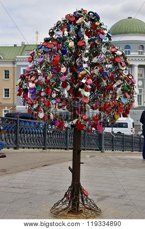 Moskow Russia - June 27 2015: Tree with padlocks in the form of heart