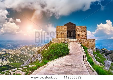 The mausoleum of Njegos located on the top of the Lovcen Mountain Montenegro. poster