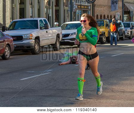 Boise, Idaho/usa February 13, 2016: Woman With A Huge Smile Running In Her Undies For The Cupids Und