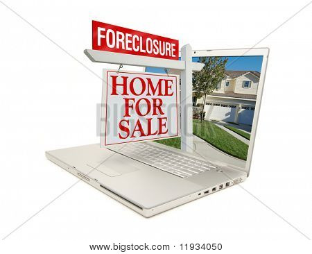 Foreclosure Home for Sale Sign & New Home on Laptop isolated on a white Background.