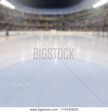 Hockey Arena With Fans In The Stands And Copy Space