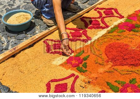 Making Sawdust Holy Week Carpet, Antigua, Guatemala