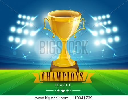 Glossy Golden Trophy on stadium lights background for Cricket Champions League concept.
