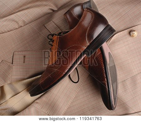 Stylish Man's Shoes And A Suit