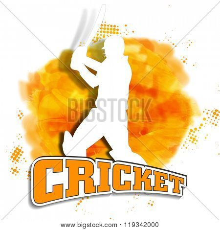 White illustration of a Batsman ready to hit the shot on shiny paint stroke background for Cricket Sports concept.