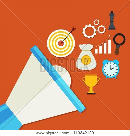 Colorful creative Infographic elements coming out from loud speaker on orange background for Business concept.