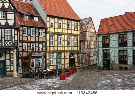 QUEDLINBURG, SAXONY-ANHALT/ GERMANY - FEBRUARY 18, 2016: Corner in the old center of Quedlinburg