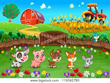 Funny landscape with farm animals. Cartoon vector illustration
