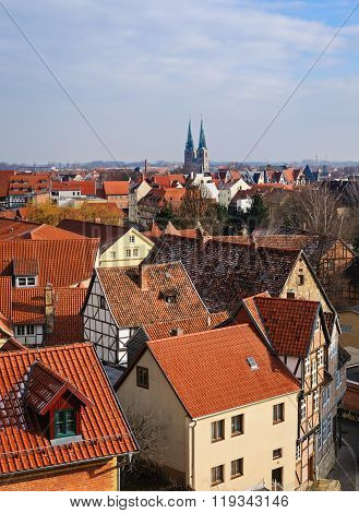 View Of The Town Quedlinburg From The Castle,  Germany