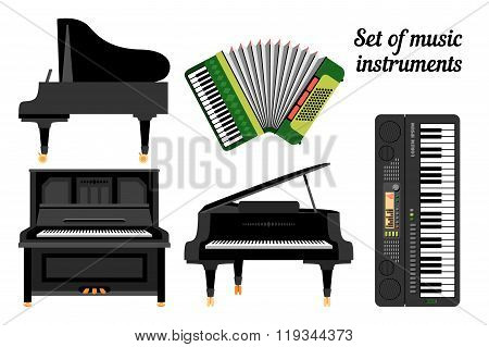 Set of keyboard musical instruments