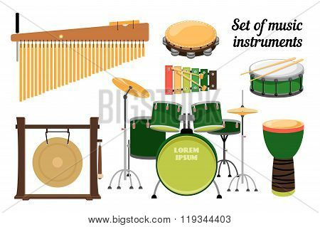Set of percussion music instruments