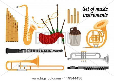 Set of wind musical Instruments