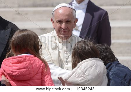 Pope Francis Portrait In Vatican City