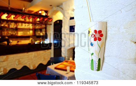 Greek restaurant interior , greek tavern concept