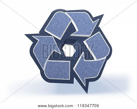 Recycling Shopping Icon In Blueish Denim Look