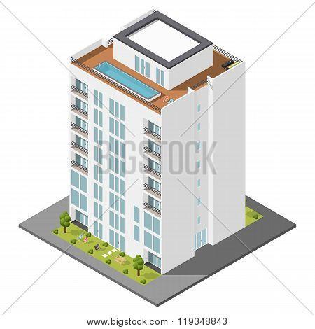 Dwelling House Isometric Icon Set