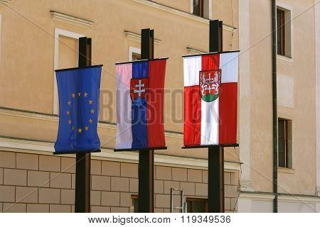Three Flags In Levoca.