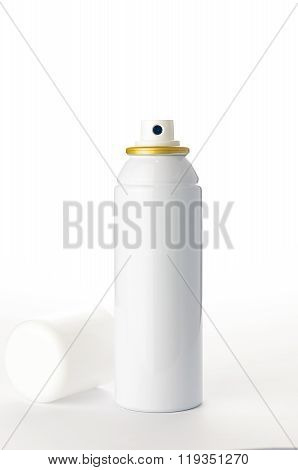 Metallic Spray Bottle On The White Background