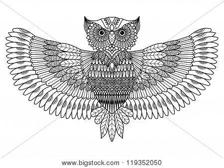Owl zentangle style for tattoo, t-shirt design or for coloring book