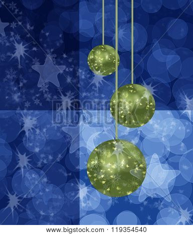 Blue Chistmas With Green Balls Background
