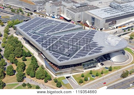 MUNICH, GERMANY - AUGUST 4, 2015: BMW Welt is a multi-functional customer experience and exhibition facility of the BMW AG in direct proximity to the BMW Headquarters and the Olympiapark in Munich.