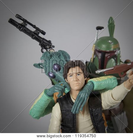 BLOOMFIELD, NEW JERSEY -  FEB 22, 2016: Selfie Star Wars concept of best friends, Hasbro Black Series 6 inch figures Han Solo poses with bounty hunters and enemies Greedo and Boba Fett