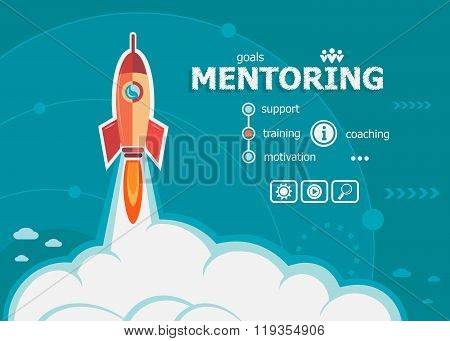 Mentoring Design And Concept Background With Rocket.