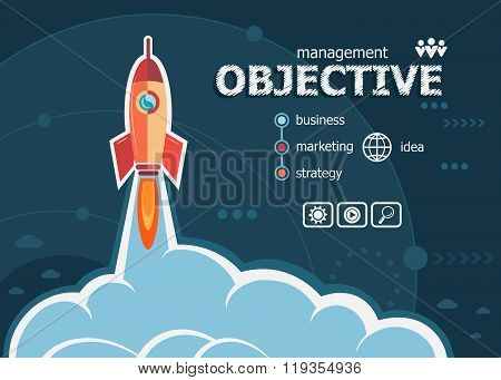 Objective And Concept Background With Rocket.