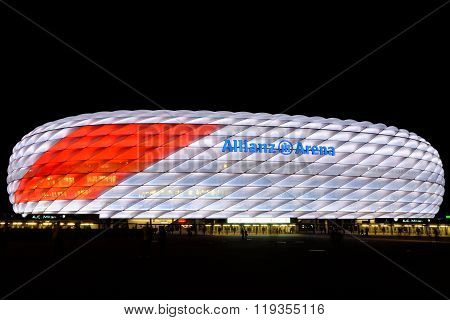 MUNICH GERMANY - 4 AUGUST 2015: Allianz arena is a football stadium with a 75024 seating capacity. It is the first stadium in the world with a full color-changing color exterior.