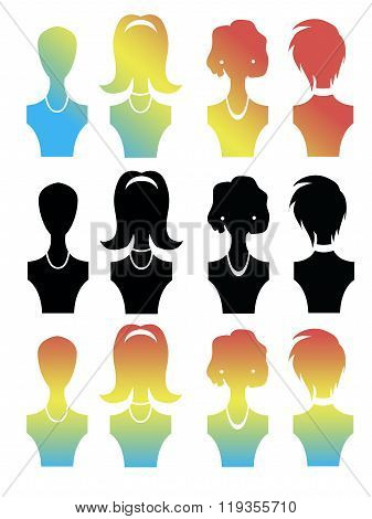 Free Liberated Silhouette Female Mannequin Satisfied With Their Appearance And Easy Hairstyles. Love