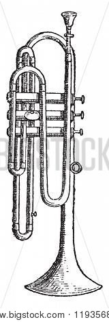 Flugelhorn, vintage engraved illustration. Dictionary of words and things - Larive and Fleury - 1895.
