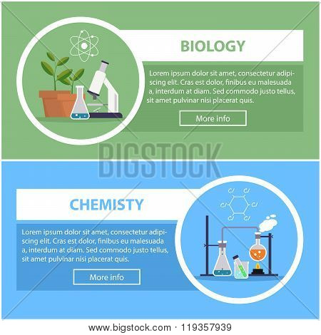 banners with the concept of scientific equipment and work space for the teacher or scholar of biolog