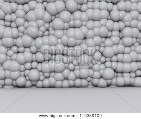 Bubble bulged white wall 3D background.