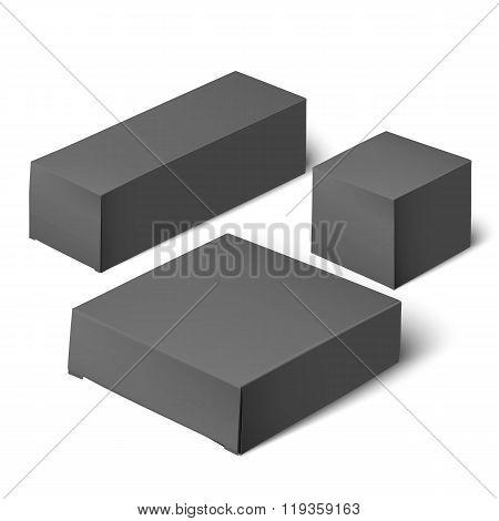 black realistic box. Mockup Template