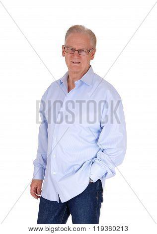 Handsome Senior Man In Blue Shirt.