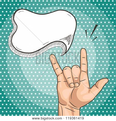 Vector Rock sign with text cloud in pop art comics style. Grunge man hand showing rock n roll gesture.