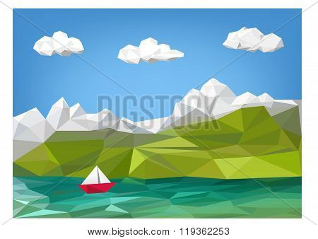 Landscape Illustration - Mountain, Lake And Sailing Boat Low Poly Graphic -