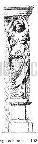 Caryatid, vintage engraved illustration. Dictionary of words and things - Larive and Fleury - 1895.