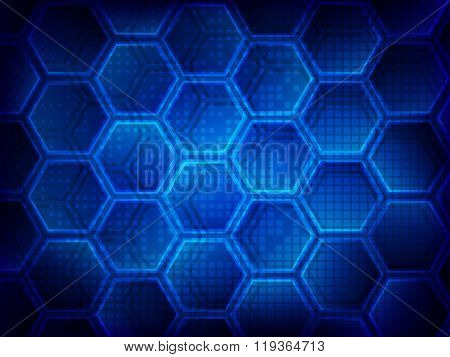 Background With Hexagons. Hi-tech Digital Technology Concept, Abstract Background. Vector Illustrati