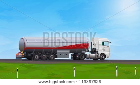 Truck with fuel on summer road