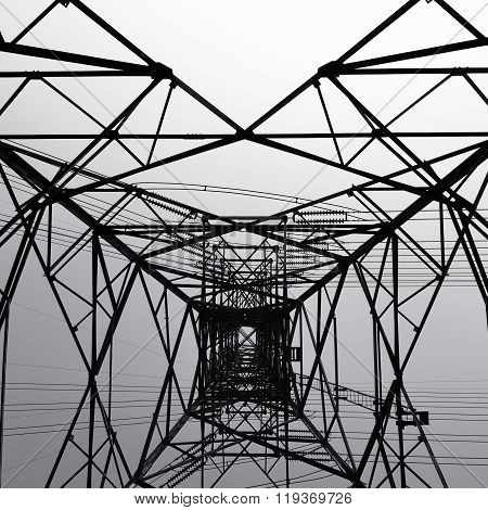 Black and white Structural of power transmission lines