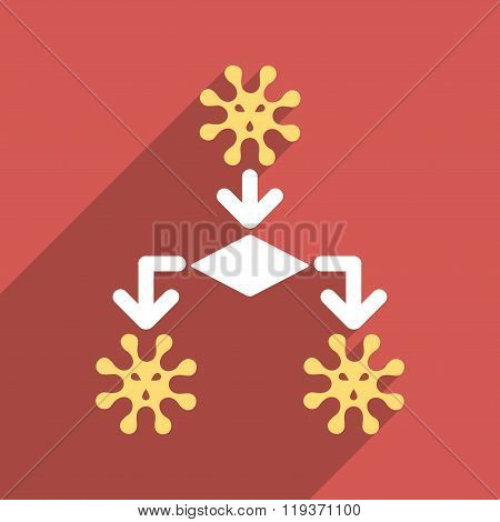 Virus Reproduction Flat Longshadow Square Icon